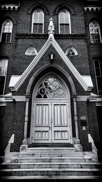 Wall Art - Photograph - Godsey Administrative Building Door - Mercer University by Stephen Stookey