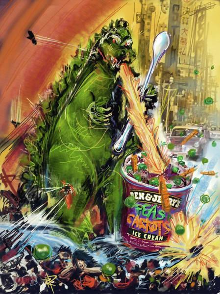 Pea Digital Art - Godzilla by Russell Pierce