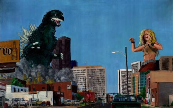 Wall Art - Painting - Godzilla Versus Shakira by Thomas Weeks