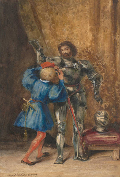 Drawing - Goetz Von Berlichingen Being Dressed In Armor By His Page George by Eugene Delacroix