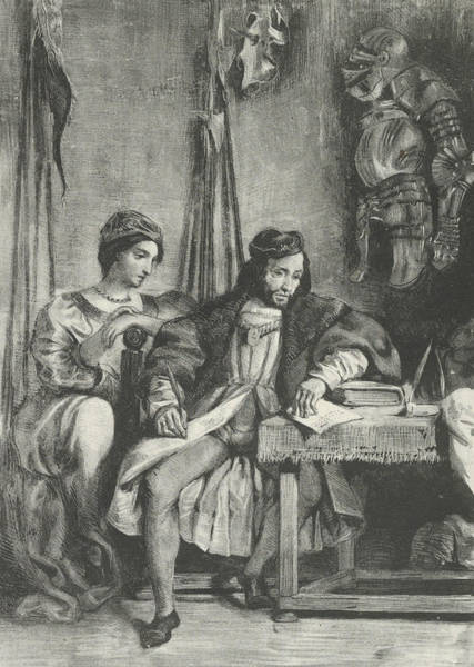 Relief - Goetz Von Berlichingen Writing His Memoirs by Eugene Delacroix