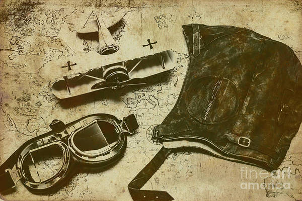 Fearless Photograph - Goggles, Pouch And Model Biplane On Map by Jorgo Photography - Wall Art Gallery