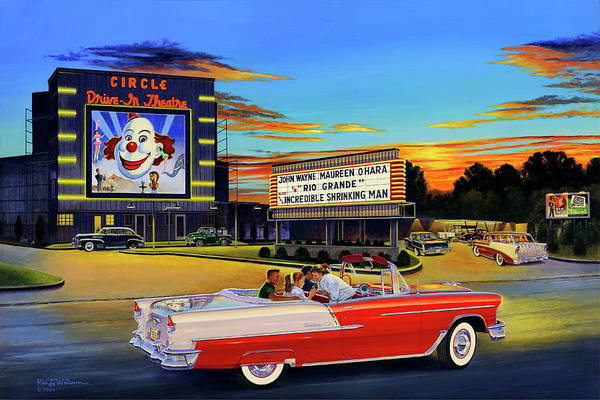 Painting - Goin' Steady - The Circle Drive-in Theatre by Randy Welborn