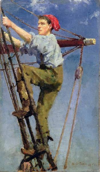 Newlyn Painting - Going Aloft by Celestial Images