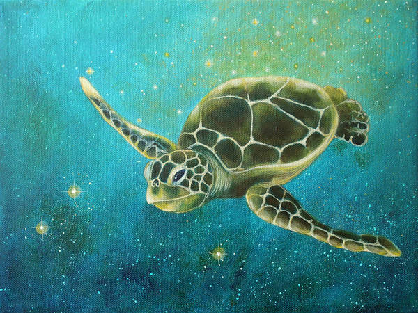 Turtle Painting - Going Deep by Christina Gage