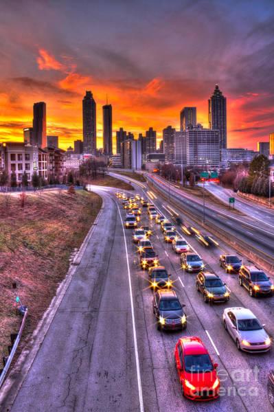 Photograph - Going Nowhere Fast 2 Atlanta Sunset Traffic by Reid Callaway