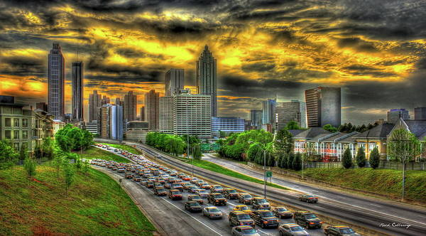 Georgia Power Company Photograph - Going Nowhere Fast Atlanta Downtown Sunset Art by Reid Callaway