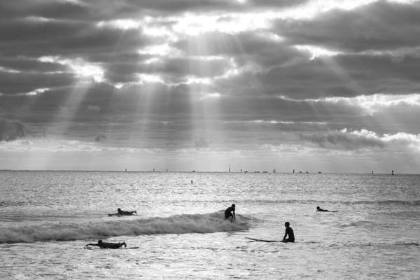 Photograph - Going Surfing On Miami Beach Florida Sunrays Black And White by Toby McGuire