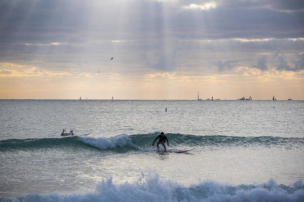 Photograph - Going Surfing On Miami Beach Florida Sunrays Wave by Toby McGuire