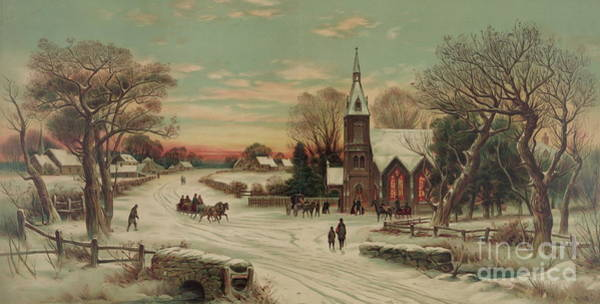 Church Spire Wall Art - Painting - Going To Church, Christmas Eve by American School