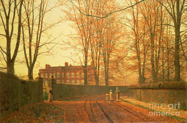 Avenue Painting - Going To Church by John Atkinson Grimshaw