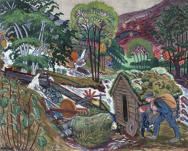 Nikolai Astrup Painting - Going To The Mill by MotionAge Designs