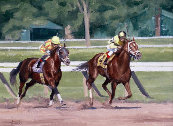 Thoroughbred Racing Wall Art - Painting - Going To The Whip by Linda Tenukas