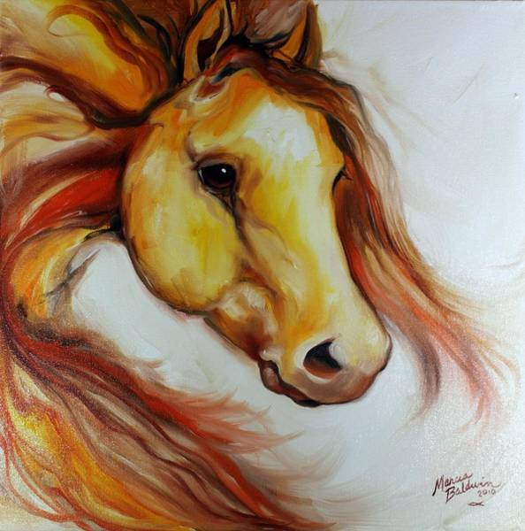Wall Art - Painting - Gold Amber Equine by Marcia Baldwin
