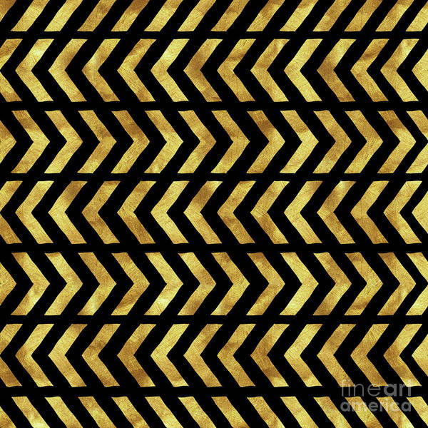 Tribal Digital Art - Gold And Black Tribal Zig Zag Design by Tina Lavoie