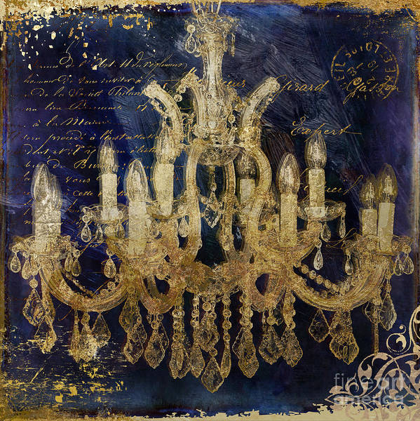 Wall Art - Painting - Gold And Blue Chandelier by Mindy Sommers