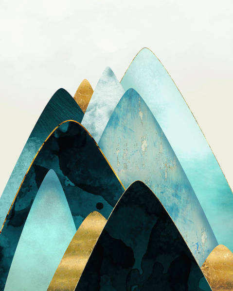 Peak Digital Art - Gold And Blue Hills by Spacefrog Designs