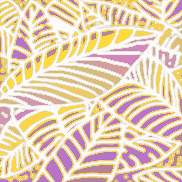 Digital Art - Gold And Orchid Leaves Cutout by Karen Dyson