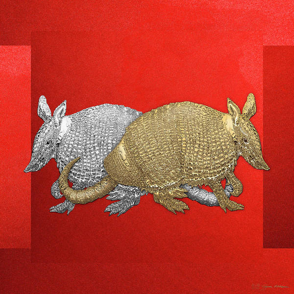 Digital Art - Gold And Silver Armadillo On Red Canvas by Serge Averbukh