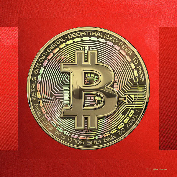 Digital Art - Gold Bitcoin Effigy Over Red Canvas by Serge Averbukh
