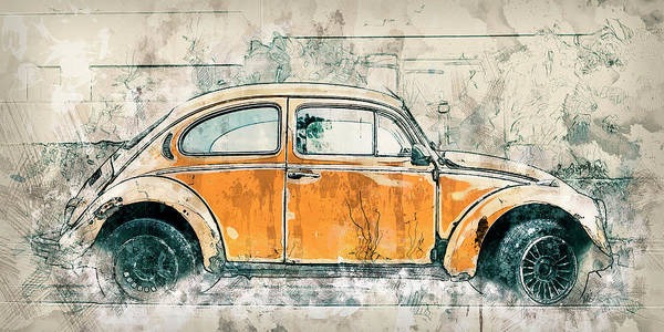Car Drawings Mixed Media - Gold Bug by Melissa Smith