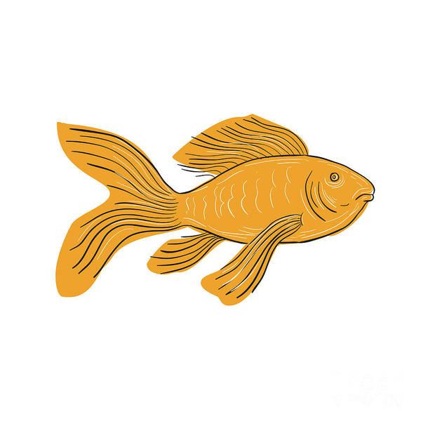 Wall Art - Digital Art - Gold Butterfly Koi Swimming Drawing by Aloysius Patrimonio
