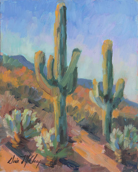 Sonoran Desert Wall Art - Painting - Gold Canyon Saguaros by Diane McClary