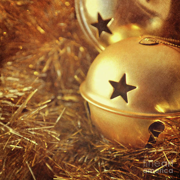 Wall Art - Photograph - Gold Christmas Baubles And Tinsel by Lyn Randle