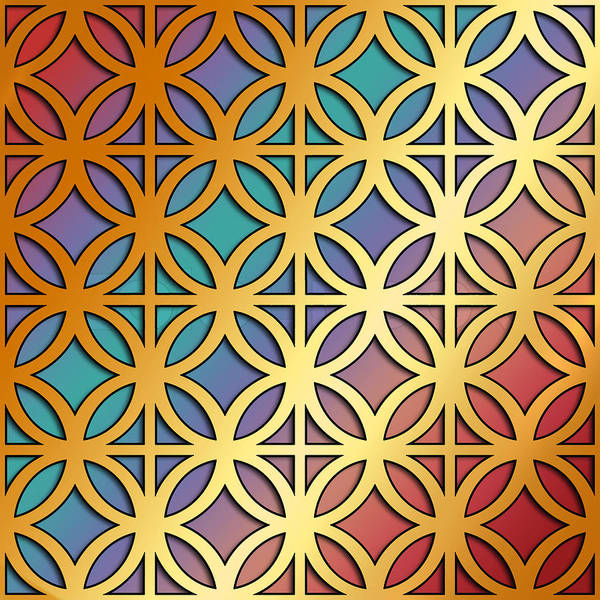 Digital Art - Gold Circles On Squares by Chuck Staley