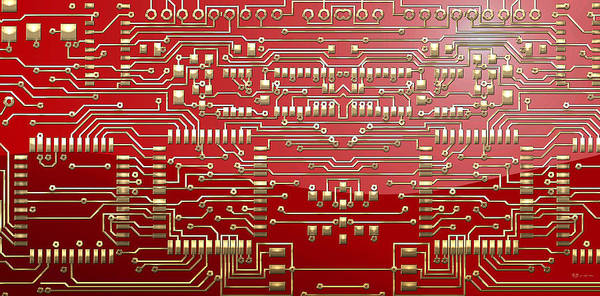 Pop Art Wall Art - Photograph - Gold Circuitry On Red by Serge Averbukh