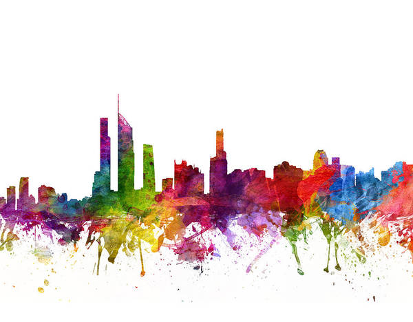Splash Drawing - Gold Coast Australia Cityscape 06 by Aged Pixel