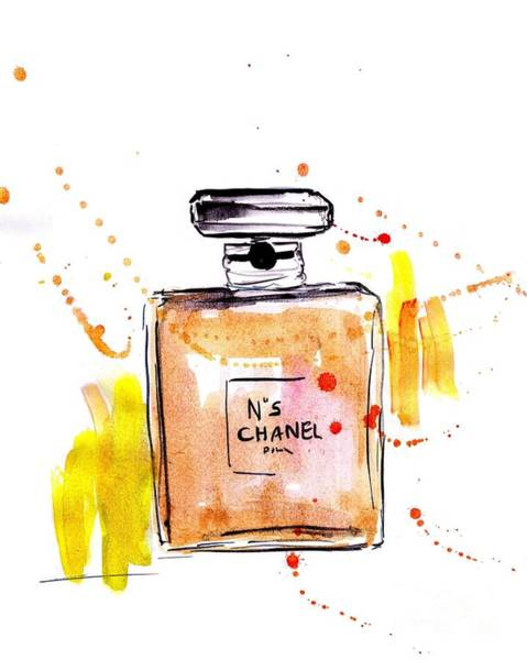 Chanel Number Five Painting - Gold Coco Chanel by Sweeping Girl