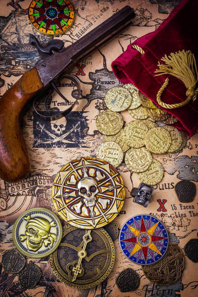 Wall Art - Photograph - Gold Coins On Pirate Map by Garry Gay