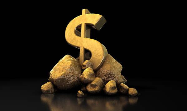 Mound Digital Art - Gold Dollar Sign by Allan Swart