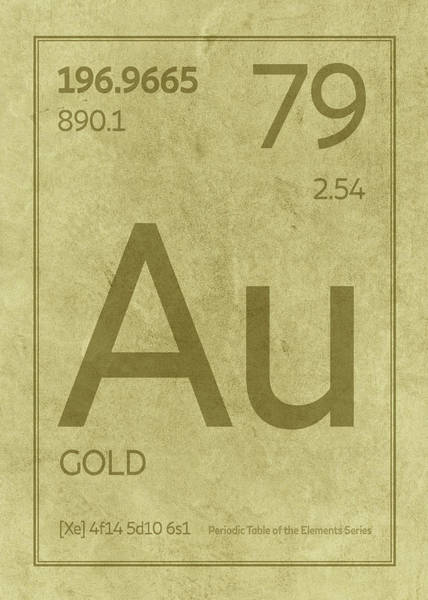 Elements Mixed Media - Gold Element Symbol Periodic Table Series 079 by Design Turnpike