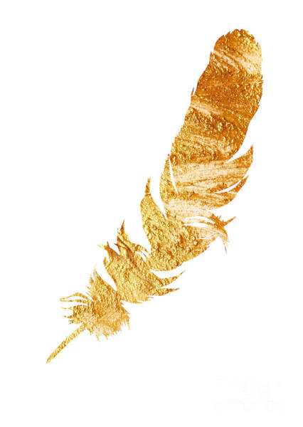 Gold Feather Watercolor Painting Art Print