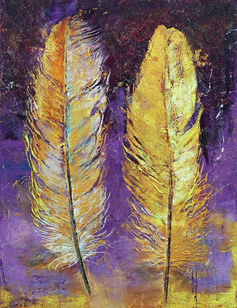 Wall Art - Painting - Gold Feathers by Michael Creese