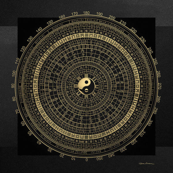 Digital Art - Gold Feng Shui Compass - Geomantic Compass Luopan Over Black Canvas by Serge Averbukh