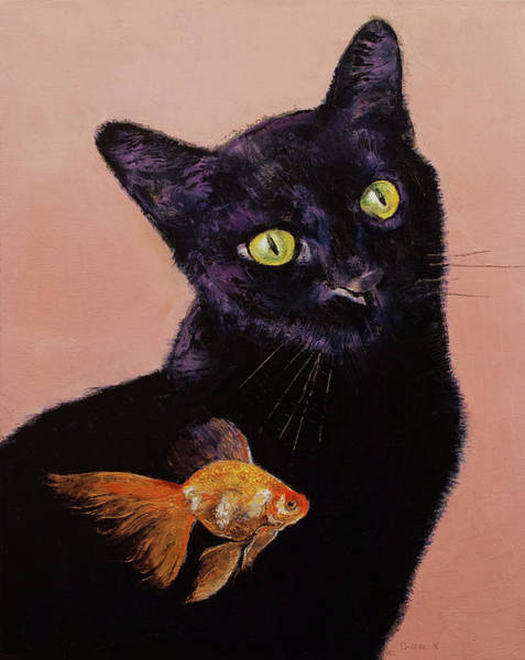Crazy Cat Painting - Gold Fish by Michael Creese