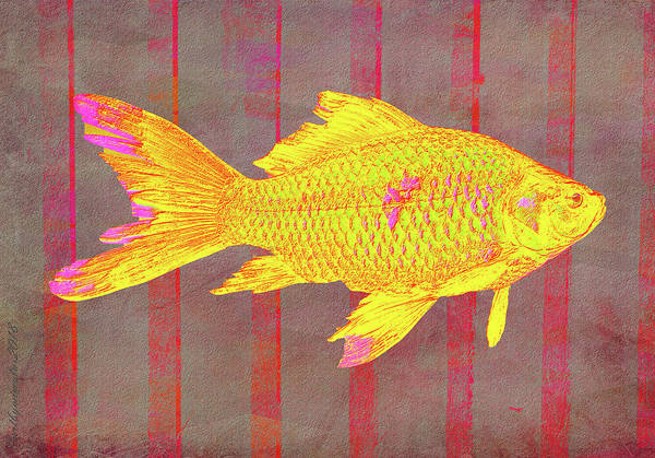 Digital Art - Gold Fish On Striped Background by Mimulux patricia No
