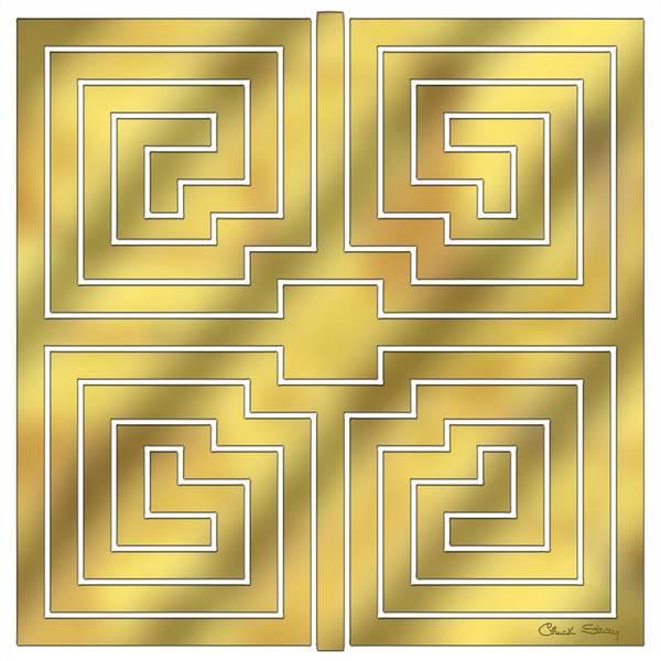 Digital Art - Gold Geo 4 - Chuck Staley Design  by Chuck Staley