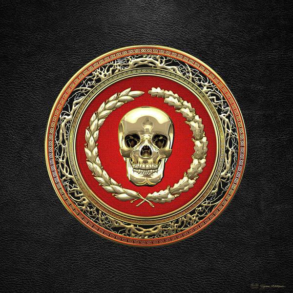 Digital Art - Gold Human Skull Over Black Leather by Serge Averbukh