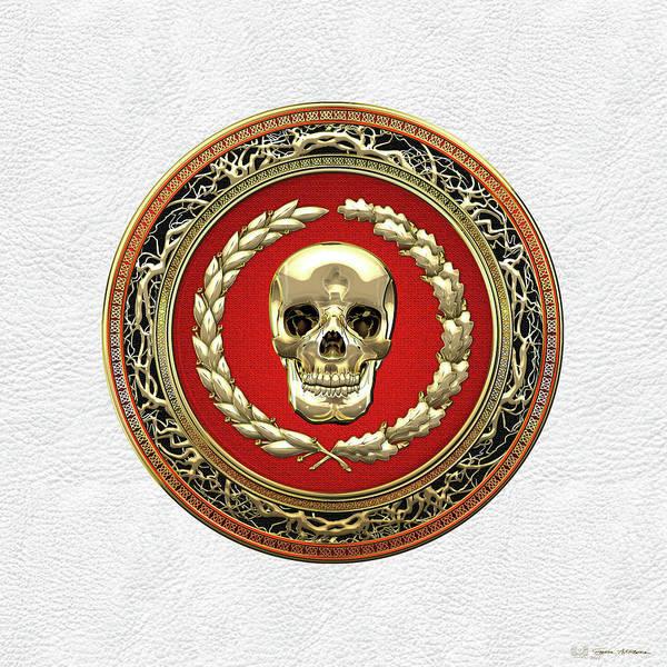 Digital Art - Gold Human Skull Over White Leather  by Serge Averbukh