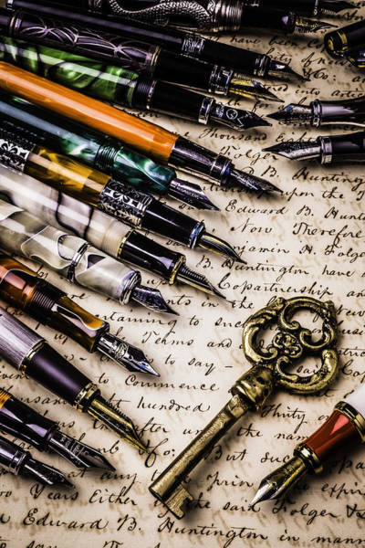 Ink Photograph - Gold Key And Fountain Pens by Garry Gay