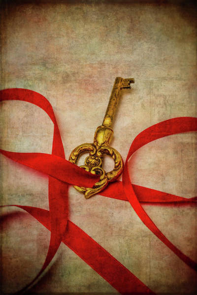 Skeleton Key Photograph - Gold Key With Red Ribbon by Garry Gay