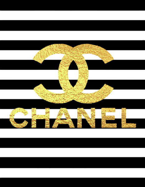 Chanel Mixed Media - Gold Logo Chanel  by Del Art