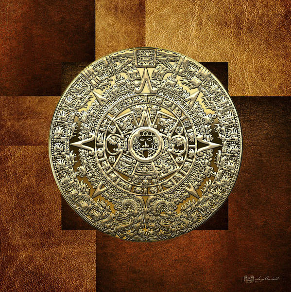 Digital Art - Gold Mayan-aztec Calendar On Brown Leather by Serge Averbukh