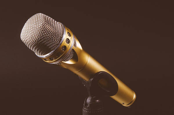 Microphone Photograph - Gold Microphone by Happy Home Artistry