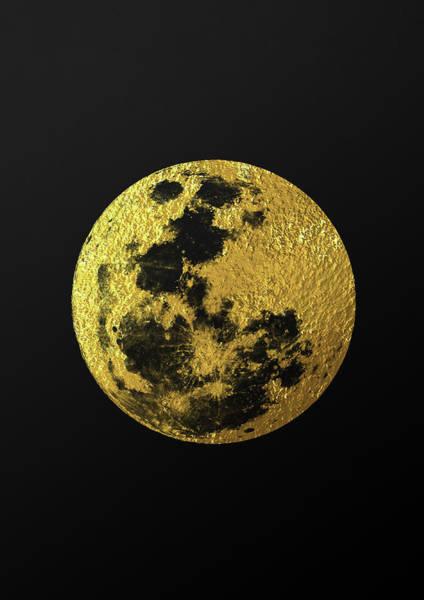 Minimalist Digital Art - Gold Moon by Zapista Zapista
