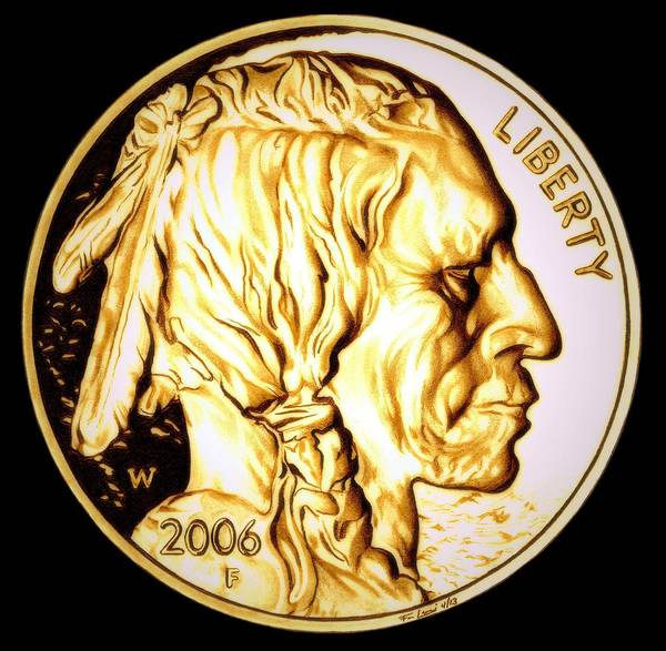 Drawing - Gold Nugget Buffalo Nickel by Fred Larucci